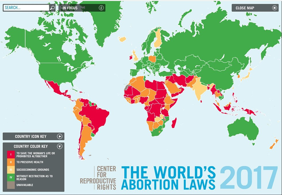 Countries Where Abortion is illegal