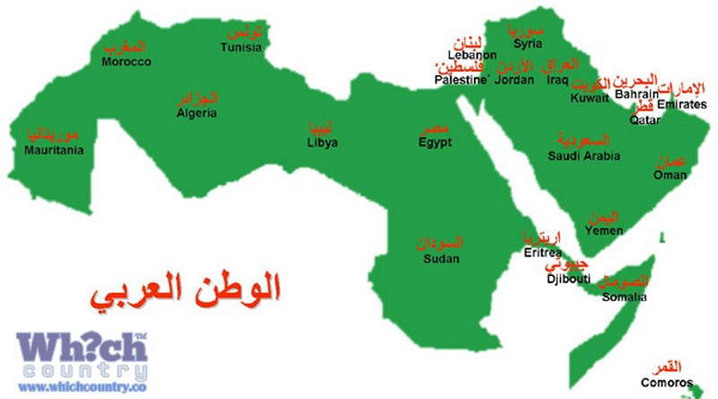 map of the countries using arabic as their official language