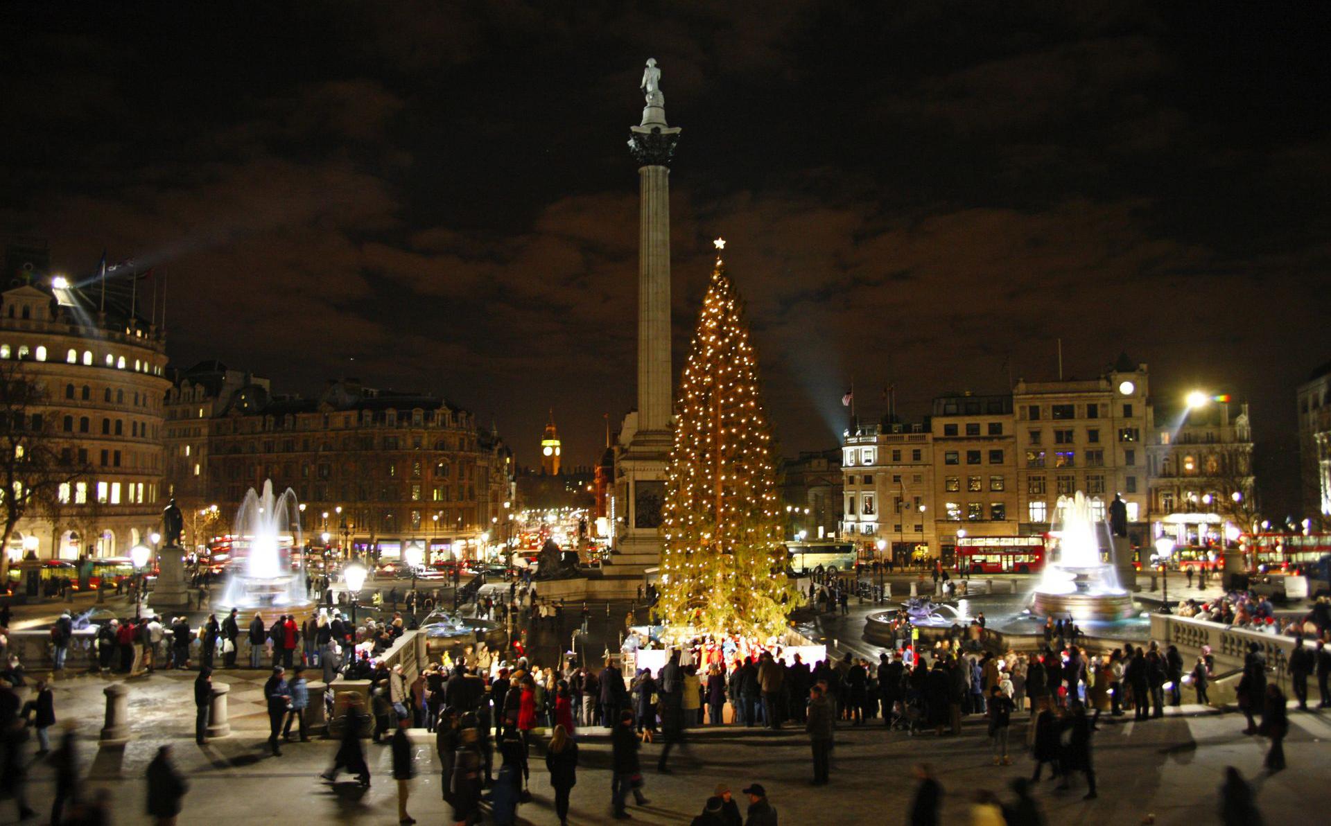 London's Christmas tree in Trafalgar Square