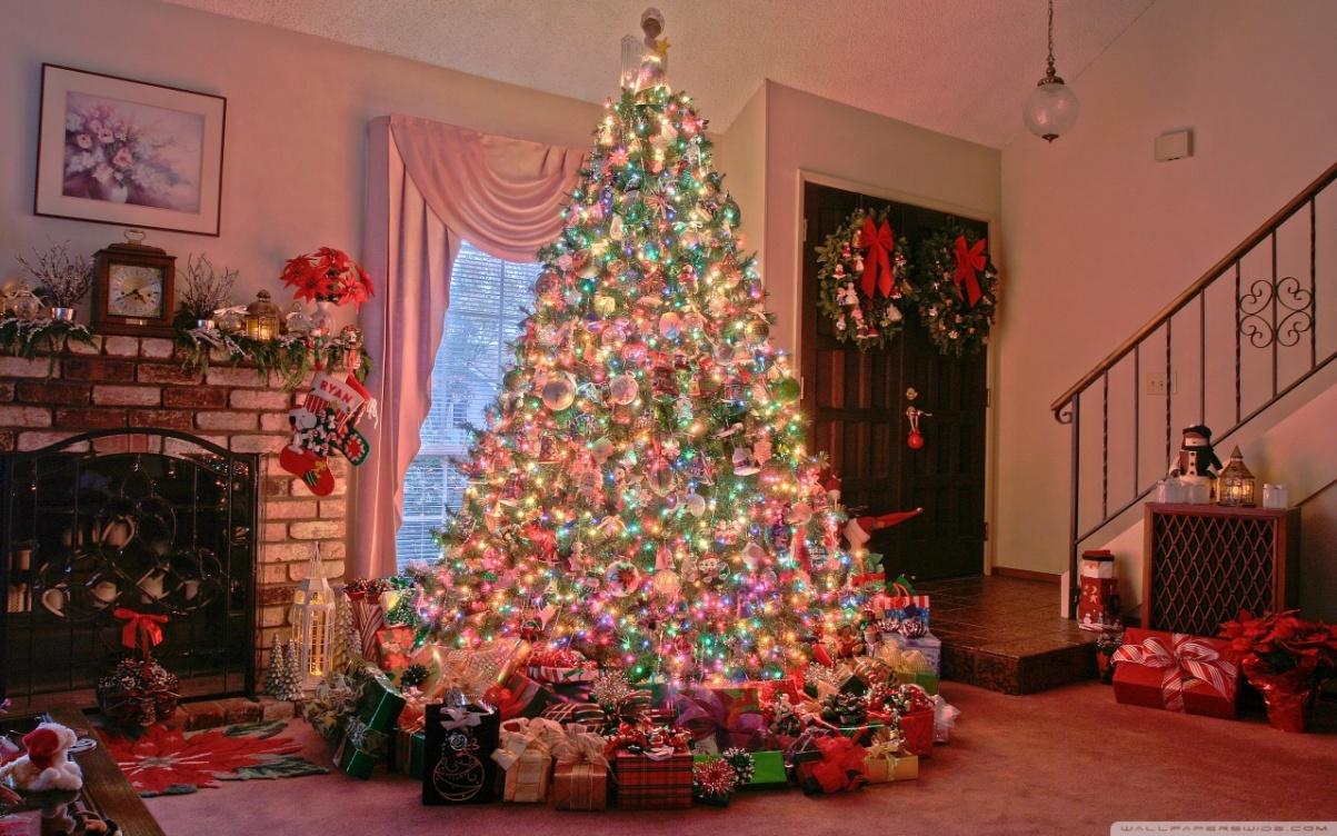 Christmas Tree Along with Christmas Gifts